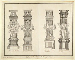 Carved pillars on the Temple of Avutaiyar Kovil, near Tanjore